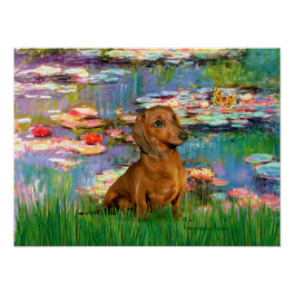 Dachshund (brown1) - Lilies 2 Posters