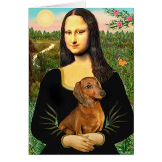 Dachshund (brown1) - Mona Lisa Greeting Cards