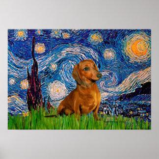 Dachshund (Brown1) - Starry Night Poster