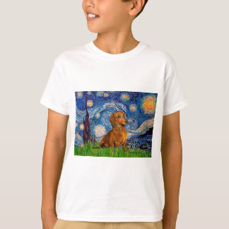 Dachshund (Brown1) - Starry Night T-Shirt