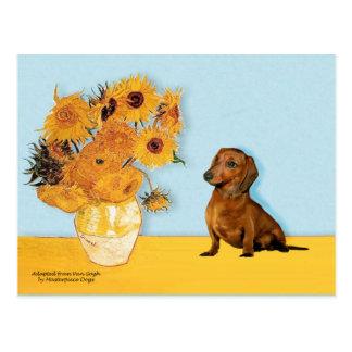 Dachshund brown1 - Sunflowers Postcards