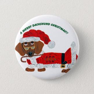 Dachshund Candy Cane Santa 6 Cm Round Badge