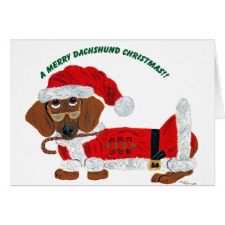 Dachshund Candy Cane Santa Card