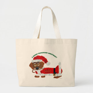 Dachshund Candy Cane Santa Large Tote Bag