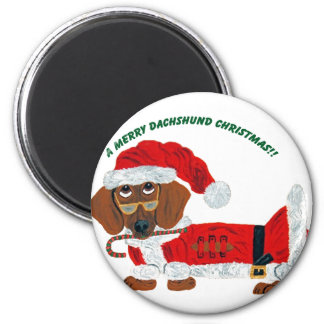 Dachshund Candy Cane Santa Magnet