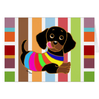 Dachshund Cartoon 2 Colorful Stripes Card