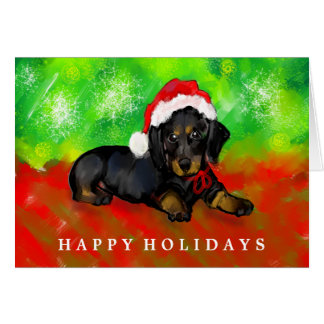 Dachshund Christmas Card - Black Dachshund