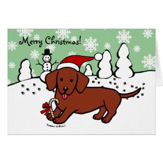 Dachshund Christmas Cartoon Greeting Card