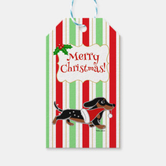 Dachshund Christmas Cartoon Snowflakes Gift Tags