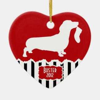 Dachshund Christmas Ceramic Heart Decoration