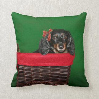 Dachshund Christmas Cushion