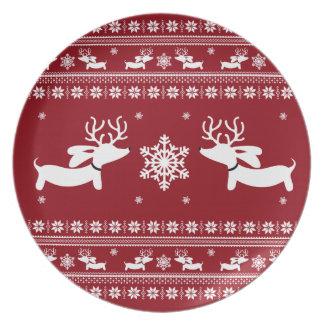 Dachshund Christmas Holiday Plate