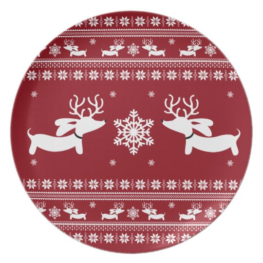 Dachshund Christmas Holiday Plate