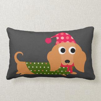 Dachshund Christmas Lumbar Cushion