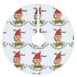 Dachshund Christmas Merry Brushed Polyester Tree Skirt