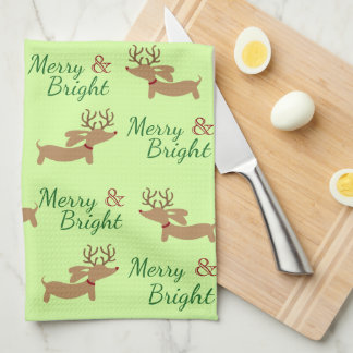 Dachshund Christmas Merry Dish Kitchen Towel