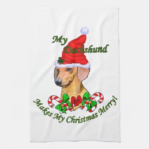 Dachshund Christmas Merry Hand Towel