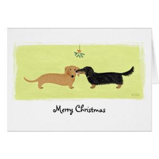 Dachshund Christmas Mistletoe Kiss Greeting Card