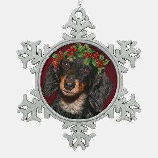 Dachshund Christmas Pewter Snowflake Decoration