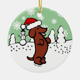 Dachshund Christmas Santa Hat Christmas Ornament