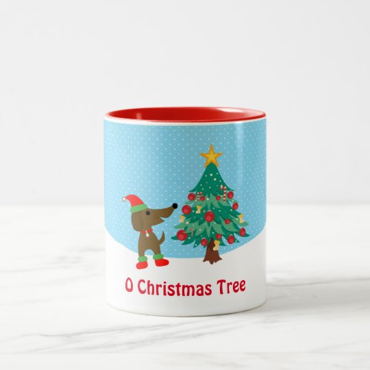 Dachshund Christmas Tree  11 oz Two-Tone Mug