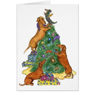 Dachshund Christmas Tree Card