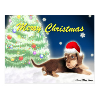 Dachshund Christmas Tree Postcard
