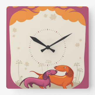 Dachshund Couple Wall Clocks