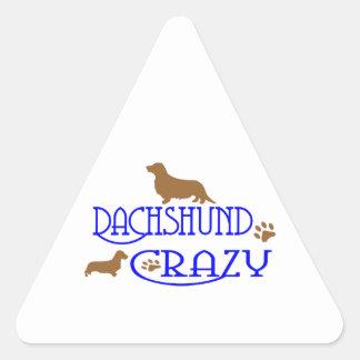 DACHSHUND CRAZY TRIANGLE STICKER