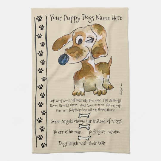 Dachshund Crossbreed Cartoon Dog Quotes Kitchen Tea Towel
