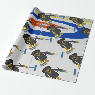 Dachshund Curling Wrapping Paper