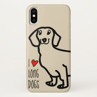Dachshund Cute Dog Funny Wiener I Love Long Dogs iPhone X Case