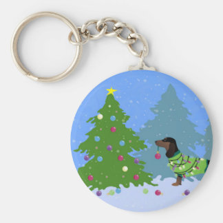 Dachshund Decorating Christmas Tree in forest Basic Round Button Key Ring