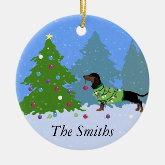 Dachshund Decorating Christmas Tree in forest Round Ceramic