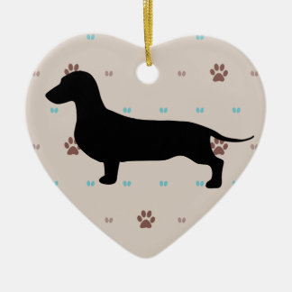 Dachshund Double-Sided Heart Ceramic Christmas Ornament