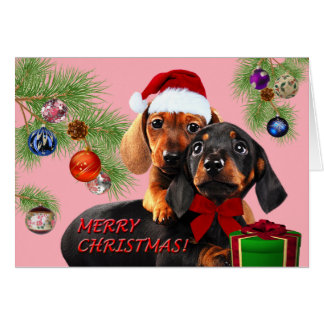 Dachshund design Christmas card