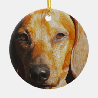 Dachshund Digital Oil Painting Closeup Christmas Ornament