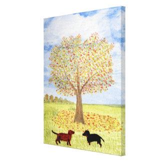 Dachshund Dog Autumn Tree Walk Canvas Print
