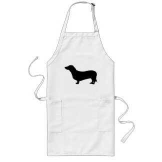 Dachshund dog black silhouette cute long apron