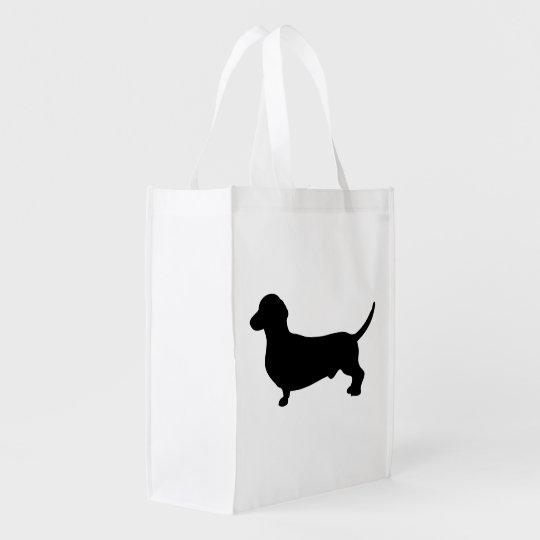 Dachshund dog black silhouette cute reusable grocery bag
