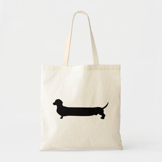 Dachshund dog black silhouette funny long back tote