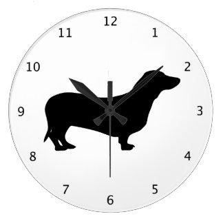 Dachshund dog black silhouette large clock