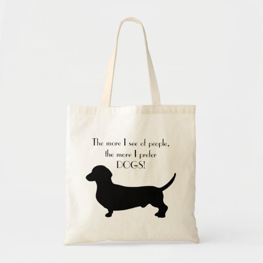 Dachshund dog black silhouette quotation cute tote bag