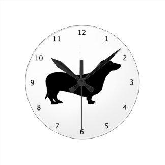 Dachshund dog black silhouette round clock