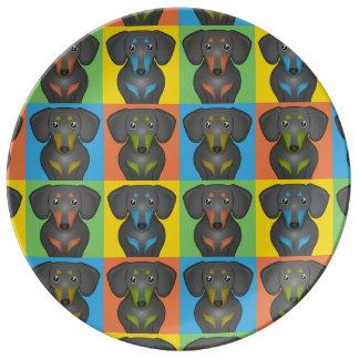Dachshund Dog Cartoon Pop-Art Plate