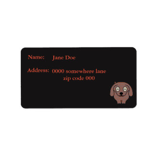 Dachshund dog chequered address labels