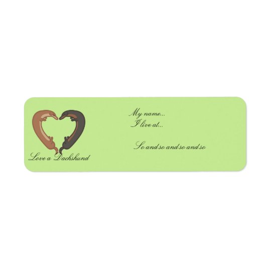 Dachshund dog couple love heart labels