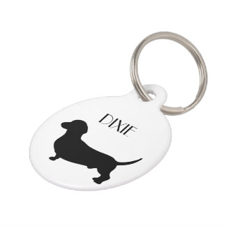 Dachshund dog custom dog name, phone number pet ID tag