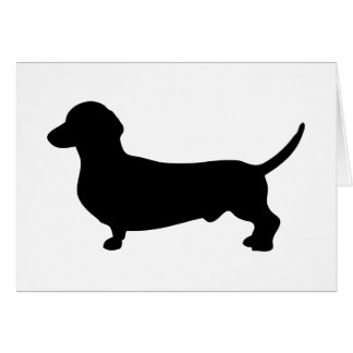 Dachshund dog cute black silhouette blank card