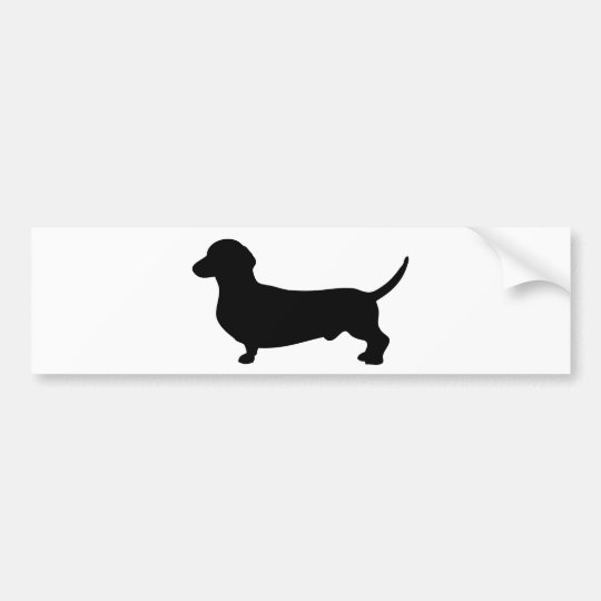 Dachshund dog cute black silhouette bumper sticker